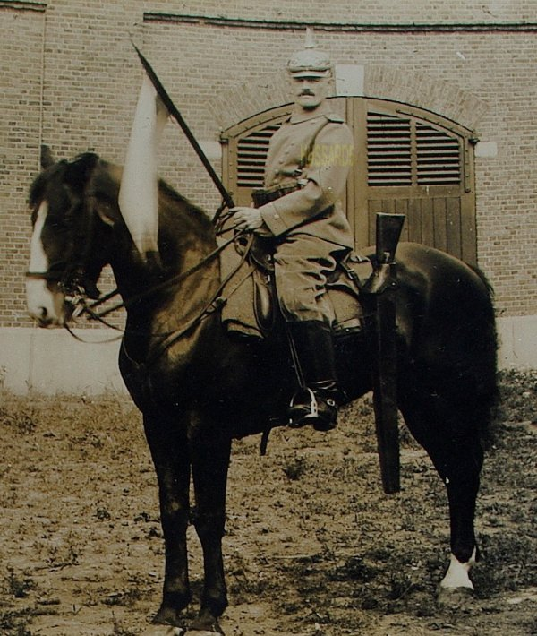 PHOTO ORIGINALE D'UN CAVALIER DES CHEVAU-LÉGERS BAVAROIS EN TENUE DE CAMPAGNE (AOÛT 1914)