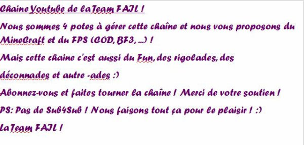 Petit  mot de La Team Fail !!!