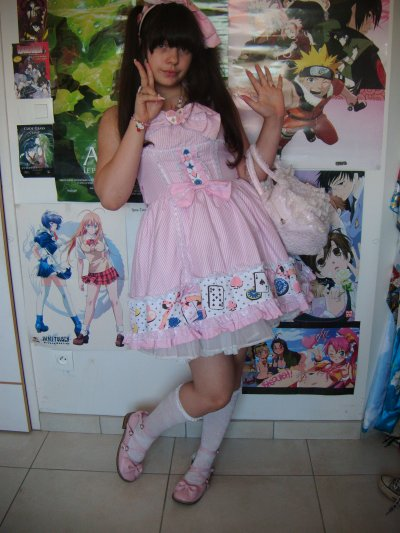 Robe Style Alice aux Pays des Merveilles Rose