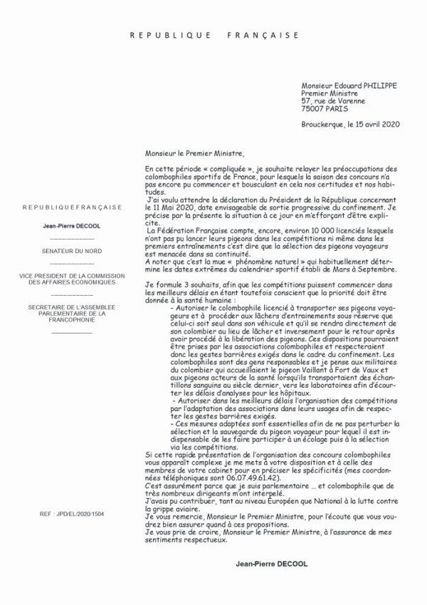 Courrier de Mr Jean Pierre DECOOL sénateur du Nord et colombophile, adressé au Premier Ministre Edouard PHILIPPE