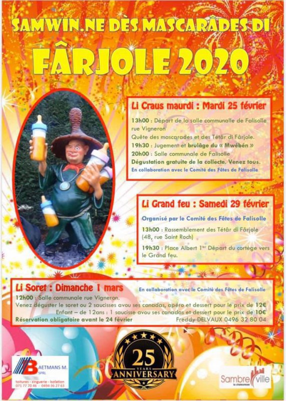 je serai au grand feu de Falisolle et sa foire se dérouleront  samedi