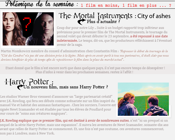 Info de la semaine : The Mortal Instruments, City of Ashes + Nouveau Harry Potter ?