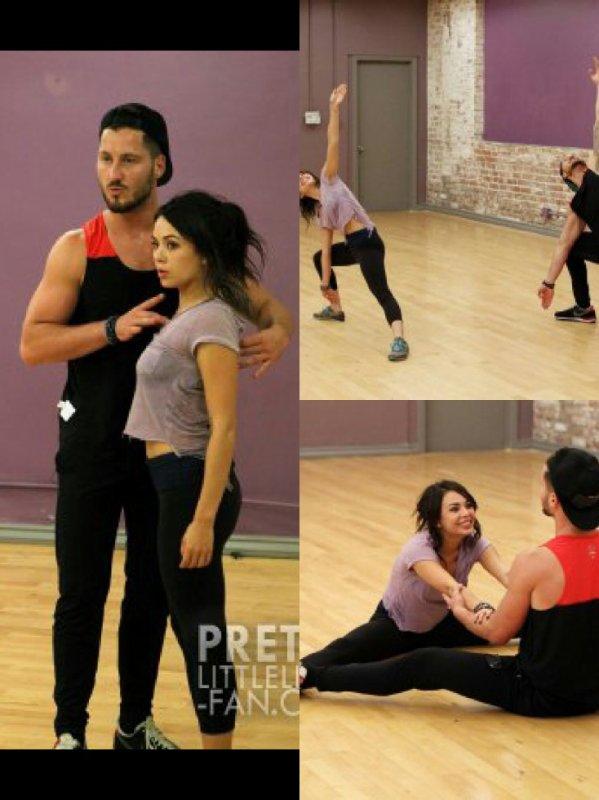 Janel Parrish et son partenaire de danse en entrainement