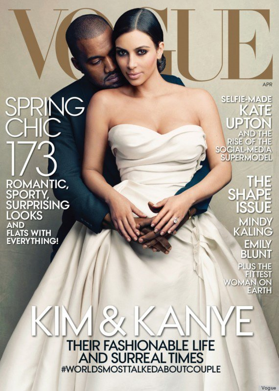 Kim Kardashian & Kanye West en couverture de Vogue Magasine