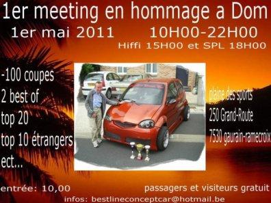 1 ER MEETING EN HOMMAGE à DOM organisation BEST LINE CONCEPT CAR à GAURAIN-RAMECROIX 7530 (BELGIQUE) LE 01 MAI 2011