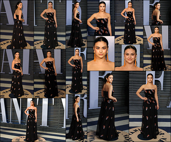 - ''•-04/03/18-'Camila Mendes était présente à l'événementVanity Fair Oscarà Beverly Hills - en Californie ! Notre actrice était vraiment splendide dans sa robe, spécialement réalisée pour l'événement ! Elle s'est ensuite rendue à l'after party de l'event... -