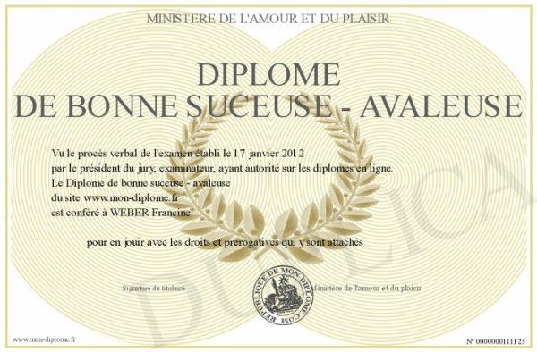 DIPLÔME DE BONNE SUCEUSE - AVALEUSEMINISTÈRE DE L'AMOUR ET DU PLAISIR