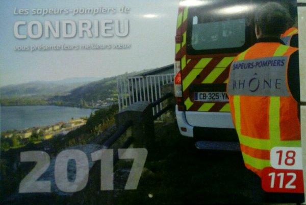 ACHAT DU CALENDRIER 2017 !!! DES SAPEURS POMPIERS DE CONDRIEU 69!!