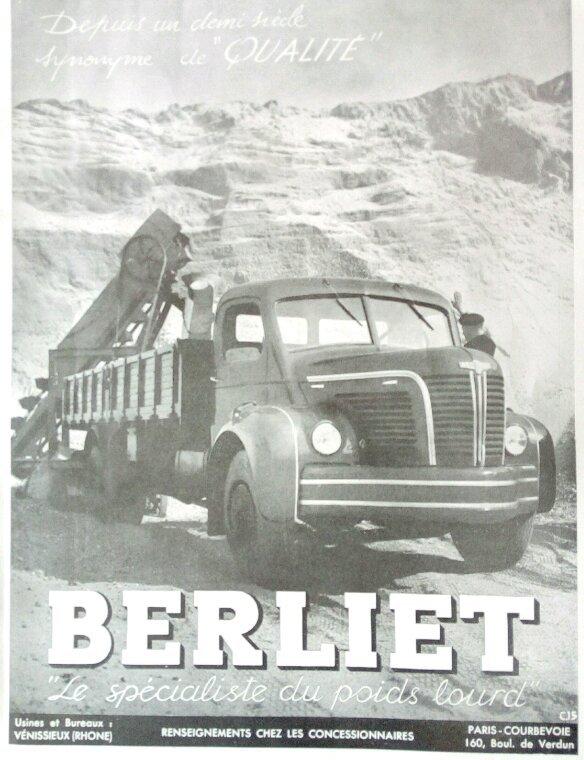 AFFICHE PUBLICITAIRE BERLIET !!! ET  PUB ANCIENNES FOURNITURES AUTO AU VERSO !!! COMMANDÉE SUR DELCAMPE !!!