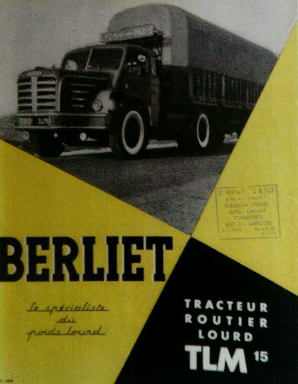 PUB BERLIET TIRÉES DU CHARGE UTILE N°85 !! LES TRANSPORTS CORDIER !! LA FLÈCHE BRESSANE !!