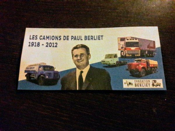 CARTE HOMMAGE À PAUL BERLIET!! REÇU CE JOUR DE LA FONDATION!!