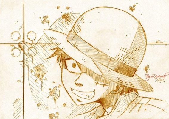 """ONE PIECE """"Luffy"""" Crayon !!!! ^_^..!!!!!! Rendez-vous Vendredi prochain pour un nouveau dessin !!!!!!)"""