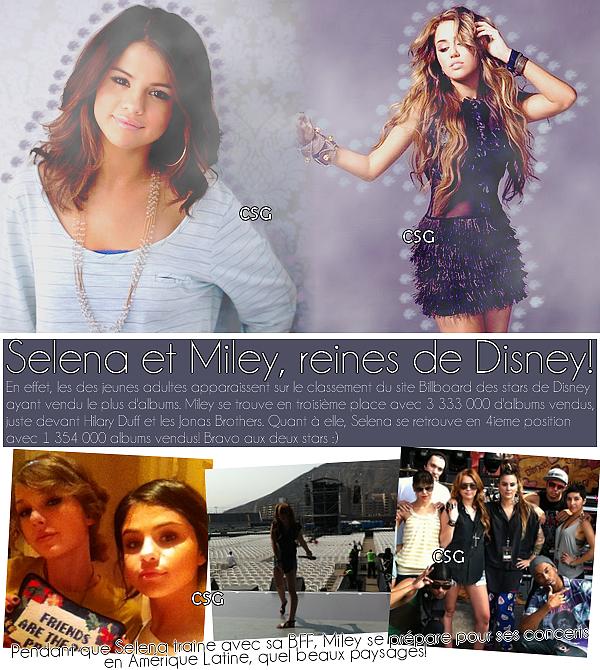 + Selena et Miley : news + reines de Disney!
