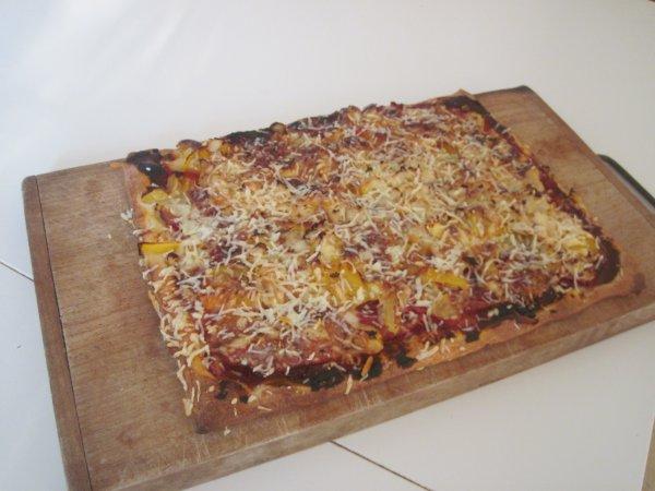 Ma pizza : choux-fleur, tomate, jambon et fromage !
