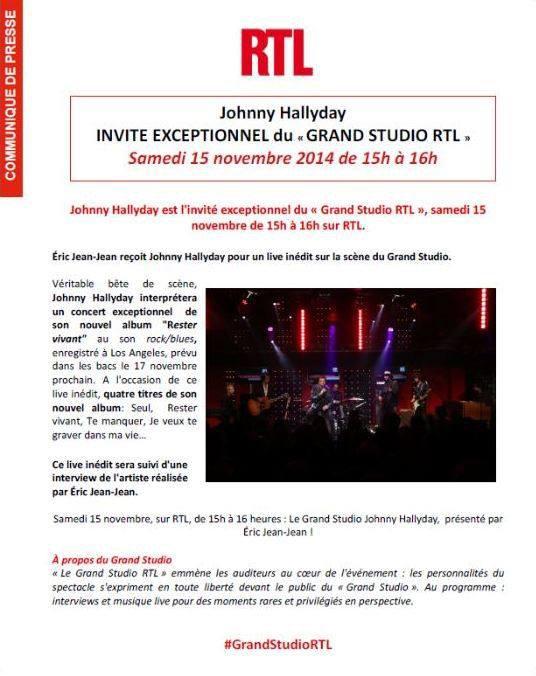 Johnny sur RTL Samedi 15 Novembre 2014