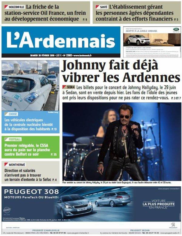 La une de L'Ardennais du samedi 20 février 2016