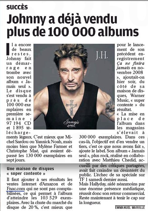 """Johnny Hallyday a reçu un disque de platine pour son album """"Jamais Seul"""" qui a dépassé 150.000 exemplaires vendus !!!"""