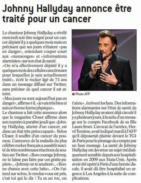 Beaucoup de courage johnny on t'aime