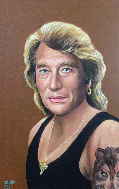 Peinture acrylique de Johnny Hallyday, si vous n'aimez pas les peintures zappé ? Et si vous aimez mettre un j'aime et un commentaire, merci ?