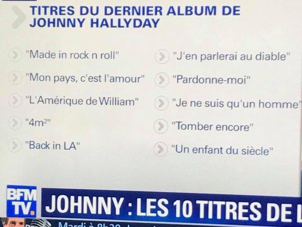 Titres de l'album de Johnny