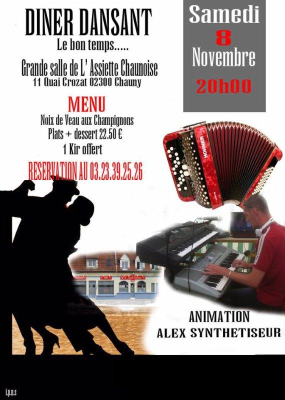 Diner Dansant à l'assiette chaunoise le samedi 8 novembre à 20h00 ( merci de réservé ) nous comptons sur vous !!!