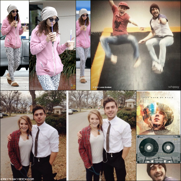 Résumé Photos de Nessa le 26 Fév dans Studio City. Photo Perso de Zac avec Lucas. 2 Photos Fans de Zac dattant de Fév 2013 sur le set de Parkland. Photo Instagram et Tumblr de Nessa.