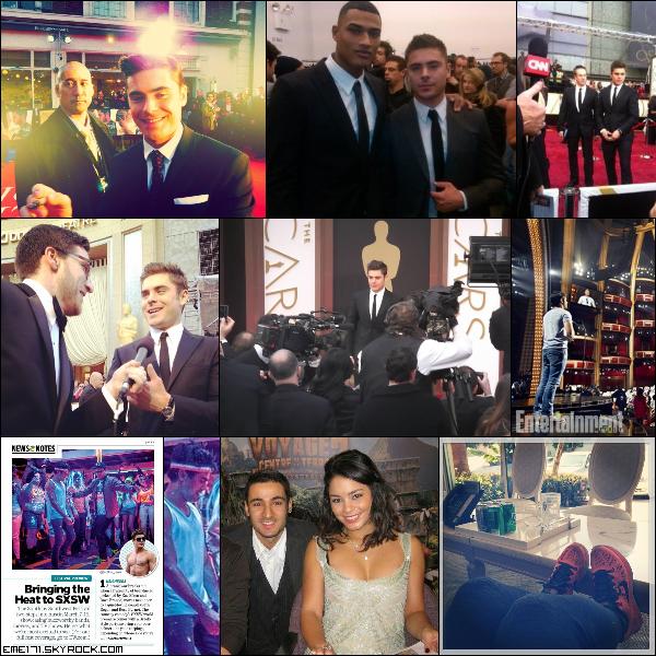 Photos Fans et BTS de Zac aux Oscars. Scan d'un magazine pour le SXSW Festival où l'on voit un nouveau Still de Neighbors. Photo Fan de Nessa à Paris. Photo Instagram d'Ash.