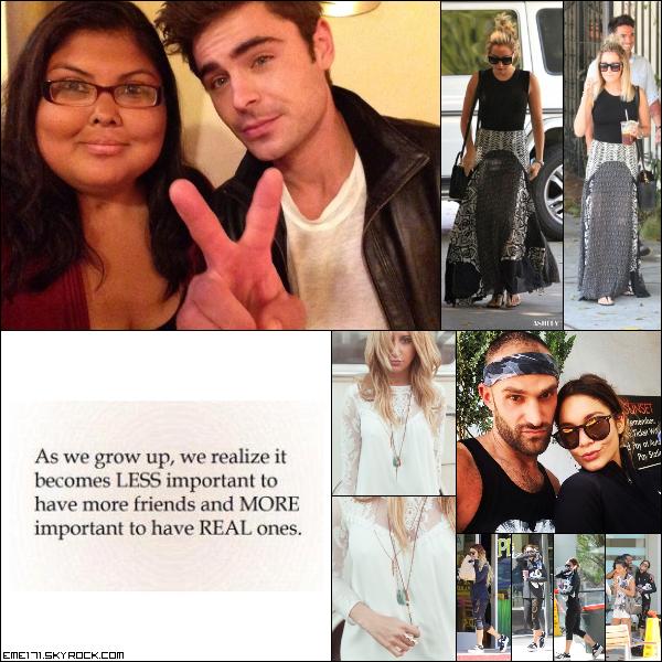 Photo Fan de Zac à la première de The Rover. Résumé Photos d'Ash le 12 Juin dans West Hollywood. 3 Photos Instagram d'Ash. Photo Perso et Réumé Photos de Nessa le 13 Juin.