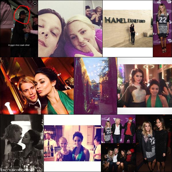2 Photos Fans de Zac à Copenague. Photos Instagram de Nessa et une d'Ash. 3 Photos Fans de Nessa au Gala. Résumé Photos d'Ash le 13 Octobre à LA.
