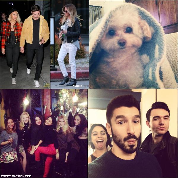 Résumé Photos de Zac et Sami le 19 Décembre à LA et d'Ash à Melrose Place le 19 Décembre. Photo Instagram d'Ash de Maui. 2 Photos Persos de Nessa.