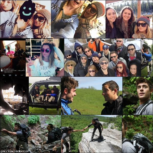 3 Photos Fans d'Ash lors de ses vacances pour le nouvel an et une autre avec sa mère il y a quelques temps. Photo Perso d'Ash et 2 de Zac. Stills Photos de Zac lors de son excursition en randonnée avec Bear Grylls en 2014.