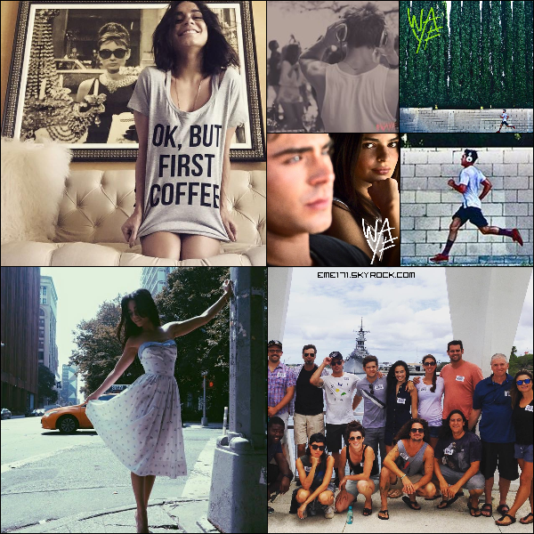 2 Photos Instagram de Nessa. 3 Photos Promo de Zac dans WAYF. Photo Perso de Zac avec le Cast de Mike and Dave.