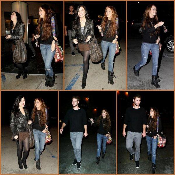 02 Février : Miley, DEMI et Liam sortant de Studio City après y avoir dîner. Décidemment Demi, te voici après ta longue absence ! Tu étais ou ?!