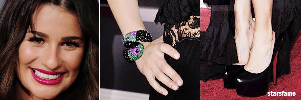 Zoom sur Lea Michele lors des Grammy Awards 2011.