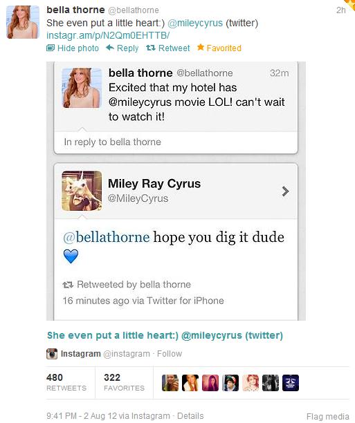 bella thorne attend avec impatience le filme LOL USA de miley cyrus elle a donc déclarer sur twitter :