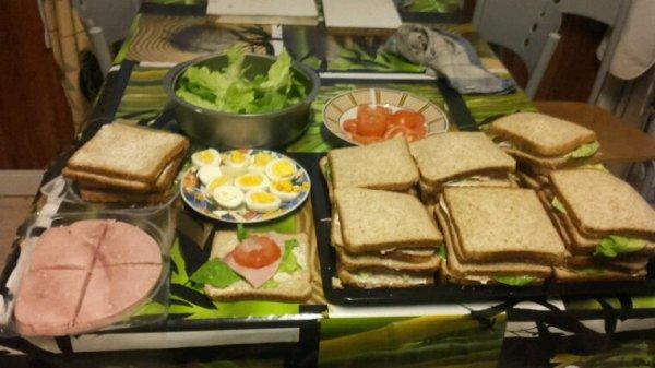Voici mes sandwiches fait maison je vous souhaite un excellent appétit bisous