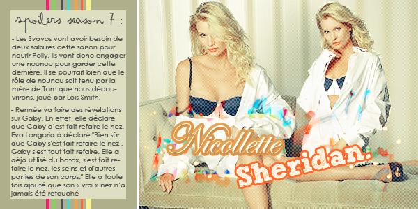 Spoilers saison 7. Créa : Nicollette Sheridan.  Texte :  Les poilers.