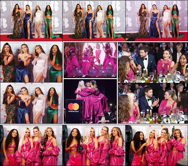 '- '-•-20/02/19- : Perrie s'est rendue à la cérémonie des « Brit Awards » qui se déroulait dans la ville de Londres Les Little Mix ont ont livrées une vraie performance sur « Woman Like Me » puis ont remportées le trophée pour la « Best British Video » ! -