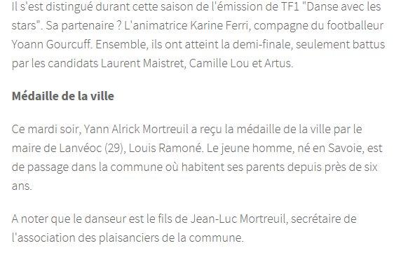 Yann-Alrick médaillé par le maire de Lanvéoc