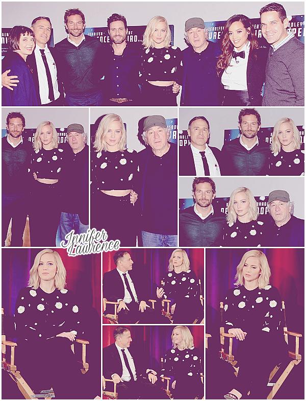28/11/2015 : Jennifer a assisté à la projection de son film Joy pendant les Screen Actors Guild (NY) : L'événement se déroulait au théâtre Directors Guild of America. Miss Lawrence était aux côtés de Bradley Cooper ou encore Robert de Niro.