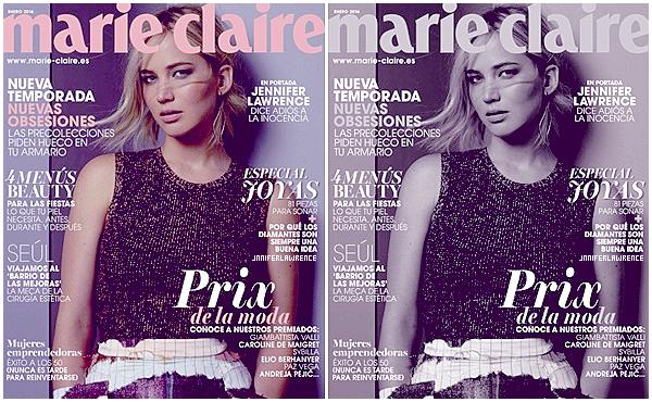 • _MARIE-CLAIRE SPAIN _____ - _JANUARY 2016 _- Cover________ _ « En portrait : Jennifer Lawrence dit adieu à son innocence. »