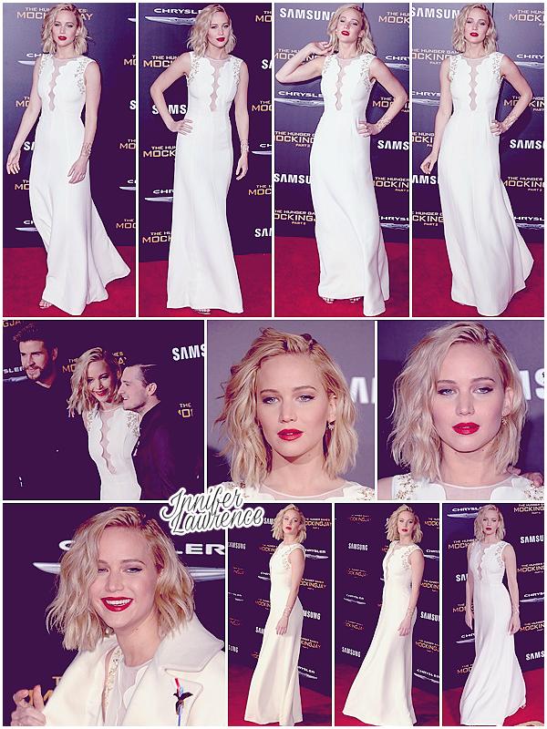 16/11/2015 : Jennifer s'est rendue à l'avant première du film Hunger Games : La Révolte Partie 2 (LA) : L'événement avait lieu au Microsoft Theatre. Pour l'occasion, JLaw était accompagnée de ses co-stars Josh Hutcherson et Liam Hemsworth. Top ♥