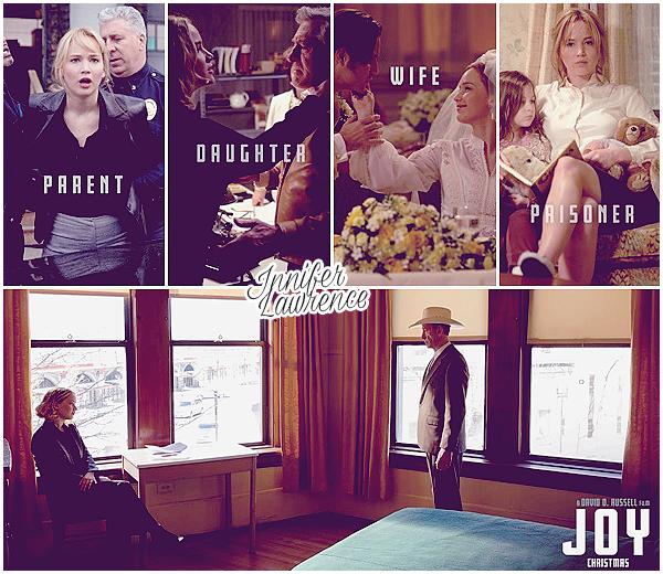 • _JOY _____ - _POSTER & STILLS _____ • Synopsis : Inspiré d'une histoire vraie, Joy décrit le fascinant et émouvant parcours, sur 40 ans, d'une femme farouchement déterminée à réussir, en dépit de son excentrique et dysfonctionnelle famille, et à fonder un empire d'un milliard de dollars. Au-delà de la femme d'exception, Joy incarne le rêve américain dans cette comédie dramatique, mêlant portrait de famille, trahisons, déraison et sentiments. Date de sortie : 30 décembre 2015.