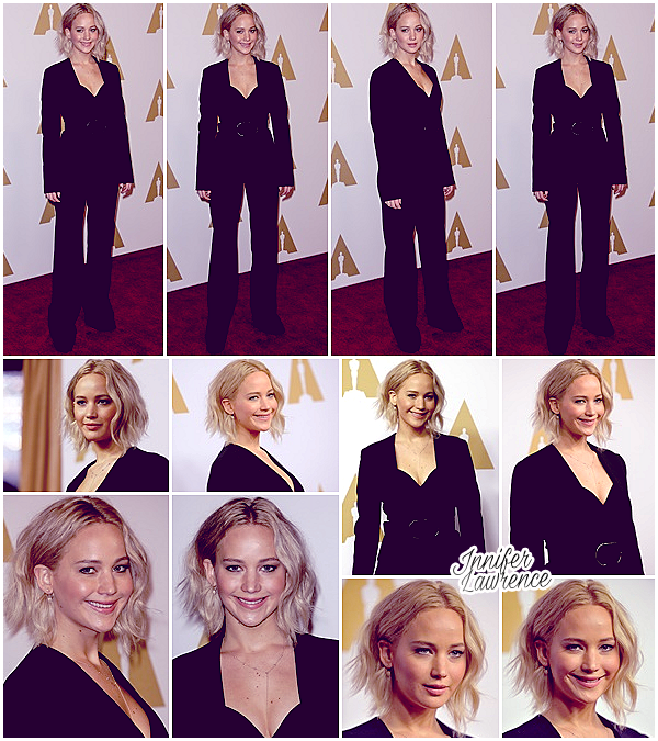 08/02/2016 : Jennifer s'est rendue au déjeuner des nominé(e)s aux Oscars dans Beverly Hills (LA) :  Chaque année, un repas est organisé en amont de la grande cérémonie du mois ! Tenue sobre et tout en noir pour Miss Lawrence, bof .. :/