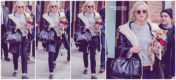 19/02/2016 : Jennifer a quitté son hôtel «Greenwich» pour se rendre à un rendez-vous à Soho (NY) :  Par la suite, JLaw était de retour à son hôtel pour de nouveau le quitter avec son chien Pippi au bras et ses bagages. Déjà de retour à Los Angeles?