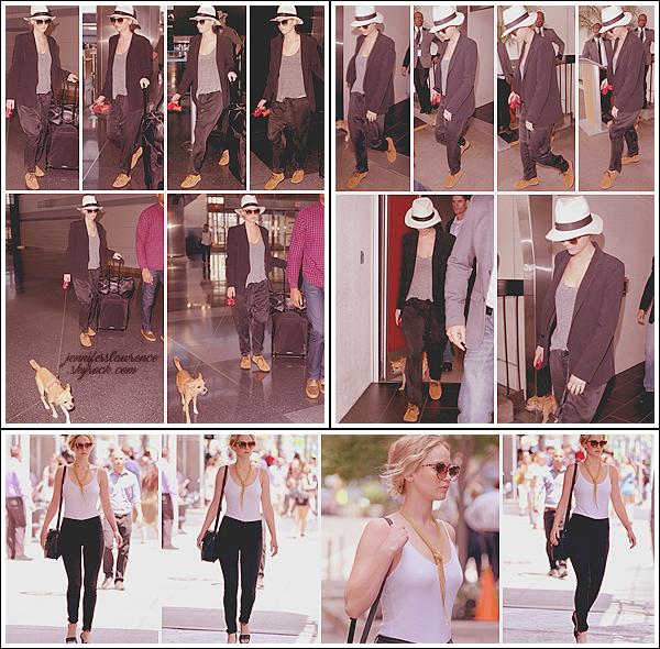 - • 22.06.17 ⅠJennifer Lawrence était sur le départ à l'aéroport « JFK » avant d'atterrir à « LAX » à Los Angeles (LA) : Jenni retournait en Californie avec son fidèle Pippi. Bof pour l'ensemble, je n'aime pas le pantalon ... Plus tôt, elle se promenait dans New-York.