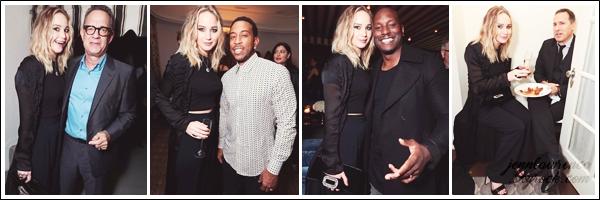 - • 05.01.18 l Jennifer Lawrence assistait à une soirée privée organisée pour le film  « The Post » dans Los Angeles (CA) : Toujours affamée, c'est avec son amie la nourriture que Jennifer a posée ! Elle était aussi avec Tom Hanks, Tyrese Gibson, Ludacris et David O'Russell.