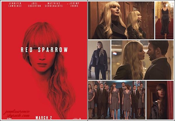 - • RED SPARROW l Découvrez la bande annonce FR pour le prochain film de Jennifer Lawrence « Red Sparrow » : Un thriller/espionnage qui donne vraiment envie mais j'ai un peu de mal avec le doublage ! Je vous joins aussi le poster promotionnel et des stills.