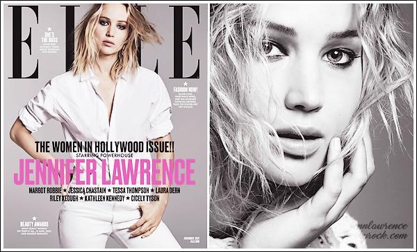 - • COUVERTURE l Jennifer Lawrence est en couverture du magasine américain « Elle » pour le mois de Novembre 2017 :