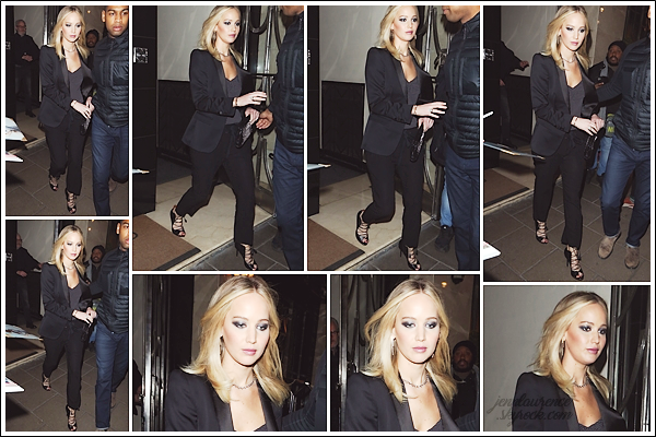 - • 20.02.18 l  Jennifer Lawrence se rendait à un événement privée pour son film « Red Sparrow » dans Londres (UK) : Malheureusement, je n'ai pas de photos de cette soirée spéciale. L'on voit juste la belle quitter son hôtel. La tenue reste un top, j'adore ses escarpins !